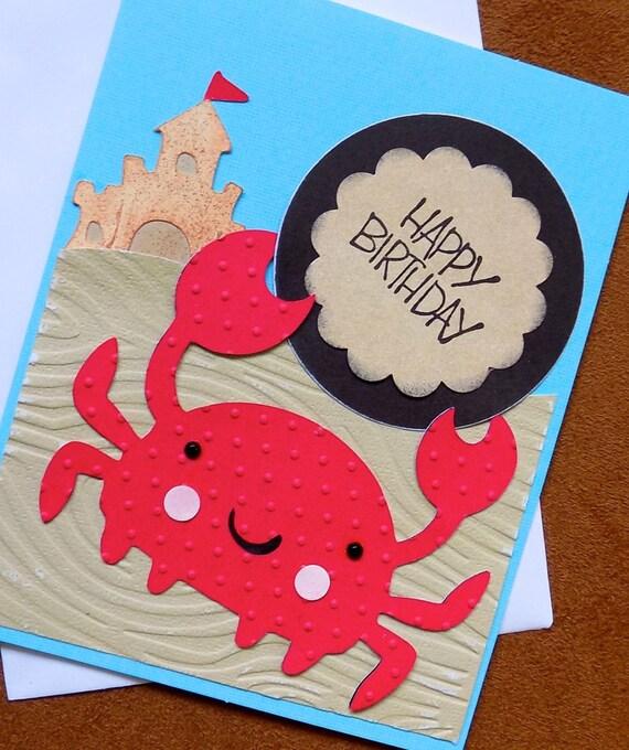 happy birthday card beach birthday card homemade crab, Birthday card