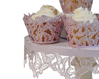 Butterfly Cupcake Wrappers Pink, White for Butterfly Baby Shower, Butterfly Birthday - Package of 12