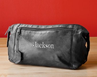 Personalized Mens Toiletry Bag - Leather Travel Case Kit