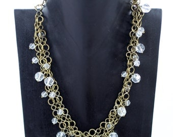 Brass Chain Toggle Charm Necklace