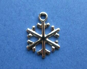 10 Snowflake Charms - Snowflake Pendants - Snowflake - Enamel Charm - Gold Tone - 20mm x 14mm -- (G5-10140)