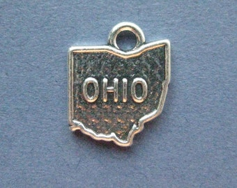 5 Ohio Charms - Ohio Pendants - State Charms - Ohio - Antique Silver - 14mm x 17mm  -- (No.140-11131)