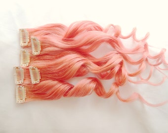 ORANGE BLORANGE Human Hair Extensions Double Wefted : Clip In Hair Extensions, Peach Hair Extensions, Ombre Hair, Orange Hair Extensions