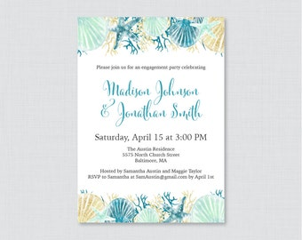 Beach Themed Engagement Party Invitation Printable - Blue and Aqua Nautical Engagement Party Invitations - Nautical Party Invites 0012-B