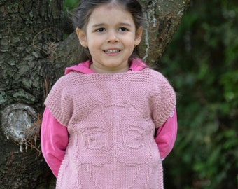 PDF pattern poncho sweater owl in relief for kids seamless one piece for children