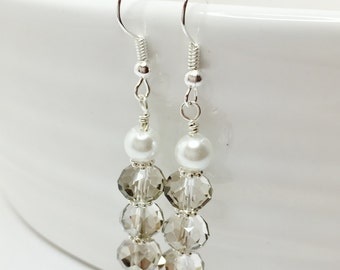 Silver Crystal Earrings Crystal and Pearl Drops Crystal Bridesmaid Gift Sparkly Bridal Dangles Wedding Party Gift Mother of the Bride Gift