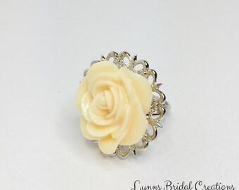Lemon Bridesmaid Ring Lemon Rose Adjustable Ring Lemon and Silver Jewellery Lemon Bridesmaid Gift Yellow Wedding Jewellery Summer Wedding