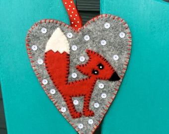 Fox Ornament, Wool Felt, Hanging Decoration, Christmas, Valentines, Applique, Handmade, Holiday Decoration