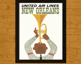 BUY 2 GET 1 FREE New Orleans Print 1962 - Vintage Travel Poster Travel Wall Art New Orleans Poster Birthday Gift Idea Travel Decor