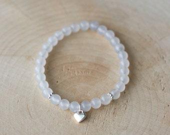 Bracelet for women semi-precious stones - White Jade - heart
