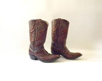 Men's Vintage Leather Cowboy Boots / Size 8