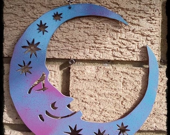 Hanging Painted Wooden Star Moon