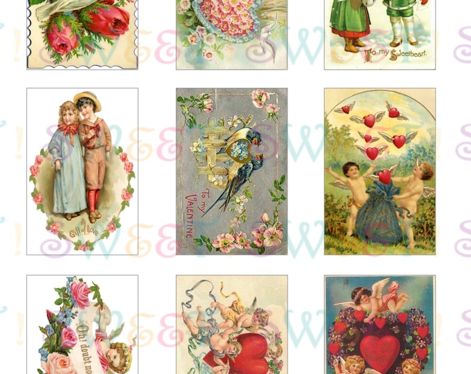 Edible Vintage Victorian Valentine Card Cookie Toppers - Wafer Paper or Frosting Sheet