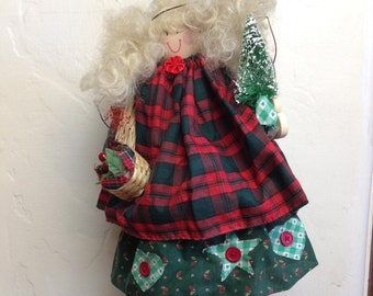 """Christmas Decor Angel Wooden Country Doll  18"""" tall Golden Blond Holds Christmas Tree and Basket of Apples"""