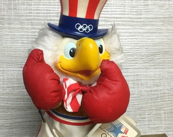 """Sam the Official Olympic Eagle Plush 9"""" Stuffed Animal Boxing Applause 1980 #8329 with Tags"""
