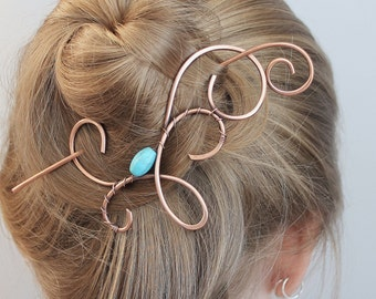 Bun Accessories, Copper Pin, Hair Clip Barrette,  Blue, Hair Stick, Hair Slide, Bun Holder, Hair Accessories for Women Birthday Gift for Her