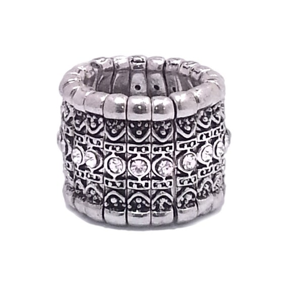 Crystal Accent Band Stretch Ring Antique Silver tone
