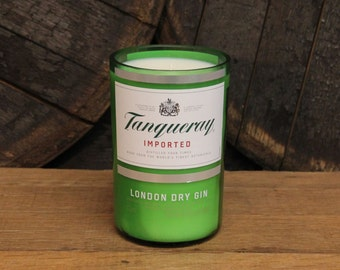 Tanqueray Gin Candle - Recycled Gin Bottle Soy Candle 1L - Custom Scent and Color - 22oz Soy Wax Gin Liquor // Valentines Gift