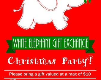 white elephant invitations  etsy, party invitations