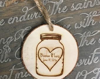 "Personalized Mason Jar Ornament, Wedding Ornament, Engaged Ornament,  Christmas Ornaments, ""Engraved Tree Slice Ornament"""