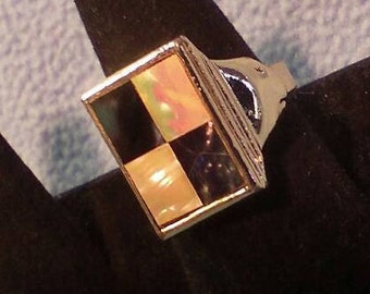 SALE!! Mother of Pearl and Abalone Ring-  Silver, Adjustable (was 10.00)