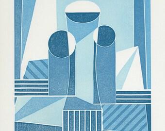 Three Vases - Ltd Edition Linocut