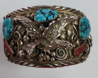 Vintage 1960's Turquoise  And Coral Navajo Bracelet Signed M. Spencer Heavy Sterling Silver