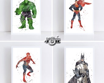 Super Hero print, Nursery prints, Batman prints, Kids prints, Superman prints, Batman prints,The hulk print, Nursery prints,
