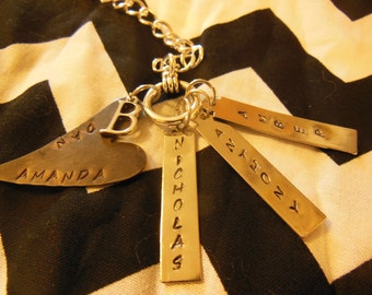 Personalized Handstamped Pendant Necklace With Heart