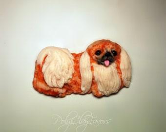 Pekingese, Pekingese magnet, Pekingese sculpture, Pet magnet, Funny Pekingese, Gift box, Dog magnet