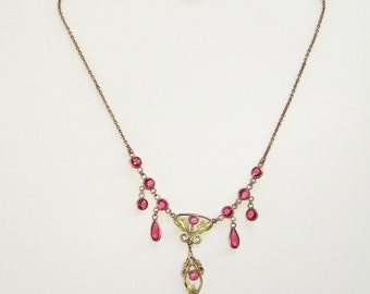 Victorian Gold Necklace with Pink Festoon Dangles Vintage Art Nouveau Era