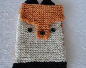 fox reader cover, knitted kindle cosy, animal gift, orange/cream reader case, fox-face reader cosy, animal kindle cover, wool kindle cover