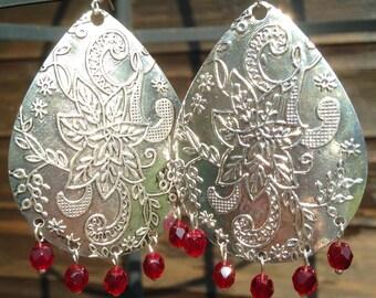 Bohemian earrings, Ethnic earrings, Boho earrings, Silver dangle earrings, Tribal earrings