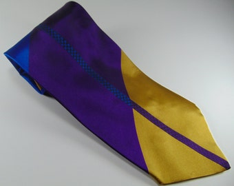 Vintage Men's Purple, Blue and Gold Tie by Allegro, 1980's