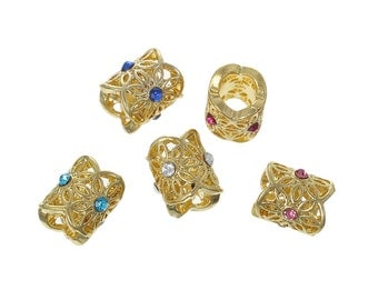 5 Rhinestone Large Hole Beads, Mixed gold plated Rhinestone Beads, European Jewelry Beads, Large Hole Metal Beads, 6825, 738, 901a