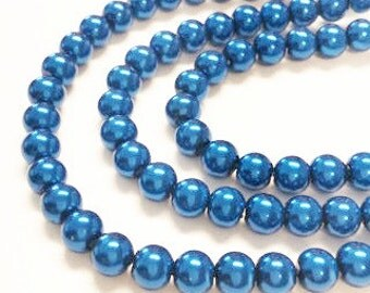 Bulk pearls blue, 65 faux pearls, 6mm glass pearls, blue pearls, faux pearls, colorful beads, jewelry making, craft supplies