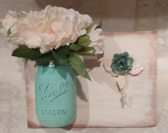 Hand Crafted Wall Plaque with Ball Mason Jar and a Pretty Rose Hook