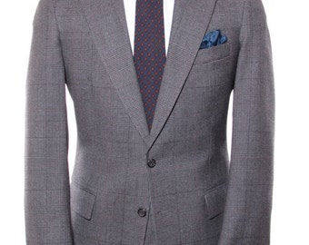 Six ~39L - Polo University Club by Ralph Lauren gray and bleck glen check suit, 35x30 trousers