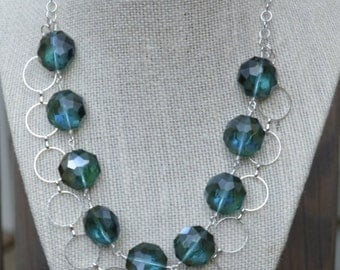 Teal Double Strand Crystal Necklace