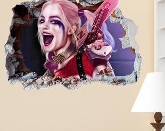 Harley Quinn Smashed Wall Sticker in Wall Crack Kids Boys Girls Bedroom Vinyl Decal Art Sticker Gift New