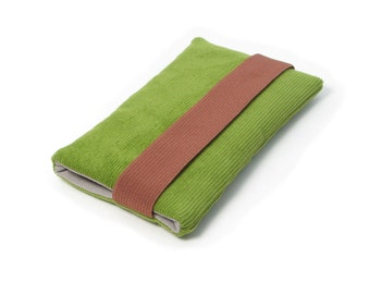 Iphone 6 Sleeve, Iphone SE Case, Sleeve Iphone 5 - Corduroy, Green, Brown, Gray, Fabric