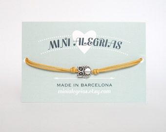 OWL bracelet minimalist bracelet cord bracelet cotton cord bracelet friendship bracelet anklet owl charm bracelet owl bead bracelet