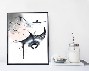 Manta ray art print, nautical illustration, marine art print, modern home wall decor, modern wall art, gift, poster, animal print
