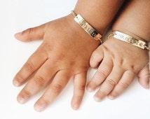 Personalized Baby Bracelet, Gold Baby Bracelet, Baby Gift, Bar Bracelet, Flower Girl Bracelet, Gold,  Sterling Silver, LEILA ewelryShop