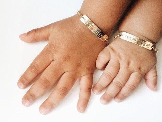 Personalized baby bracelet gold baby bracelet baby gift bar like this item negle Choice Image