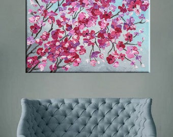 """Cherry blossom painting, Floral art Acrylic painting, Palette knife, abstract art, Impasto Textured painting, Modern art Flower painting 24"""""""