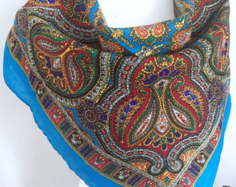 Blue Russian scarf,shawl with  flowers, winter accessory