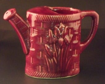 Pottery Pitcher with Iris and Basket Weave Design