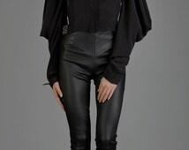 Black Womens Shirt, Silk Shirt, Black Shirt, Oversized Blouse, Loose Blouse, Formal Shirt, Renaissance Blouse, Steampunk Clothing, Gothic