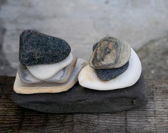Zen Balance Sculpture - Gift for Him - Beach Pottery - Rock Cairn - Meditation Stone Stack
